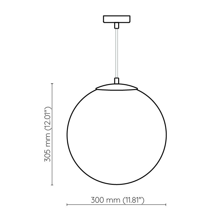 lampa kula 30cm ze szkła