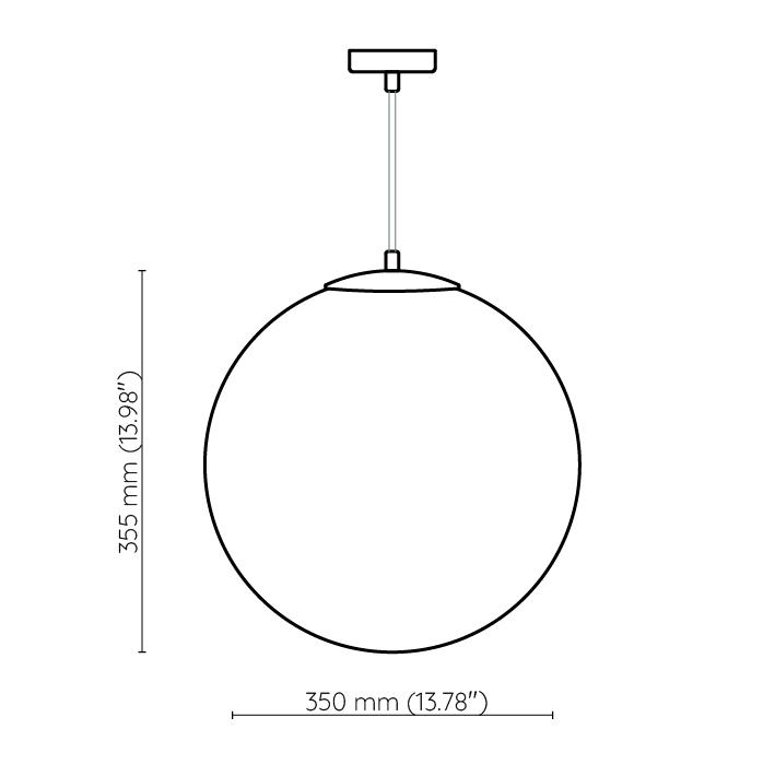 Lampa szklana kula 35cm