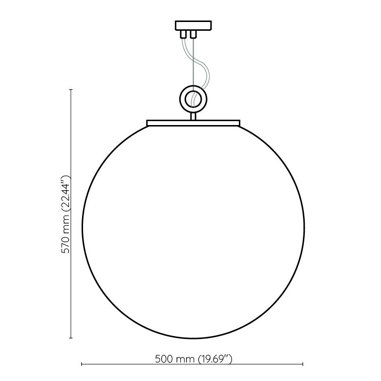 Duża biała kula 50cm lampa wisząca