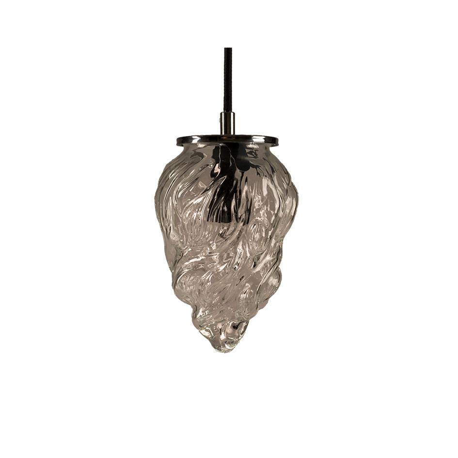 Szklana mała lampa wisząca w stylu art deco