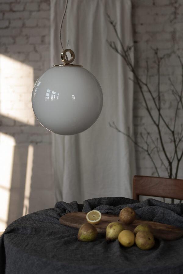 Lampa Szklana Kula z mosiądzem
