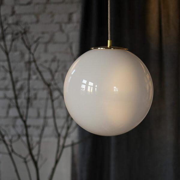 Szklana Lampa Wisząca Kula Biała