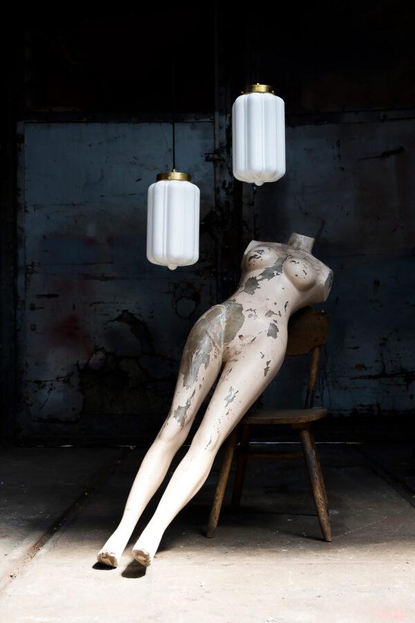 Szklane lampy wiszące Devo Białe