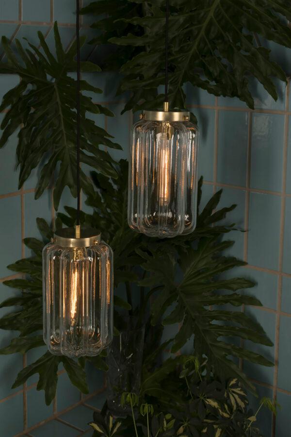 Szklane lampy wisząca Deco jasne z mosiężnym wykończeniem
