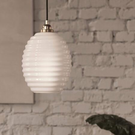 Szklana Lampa Wisząca Ul Opalowy