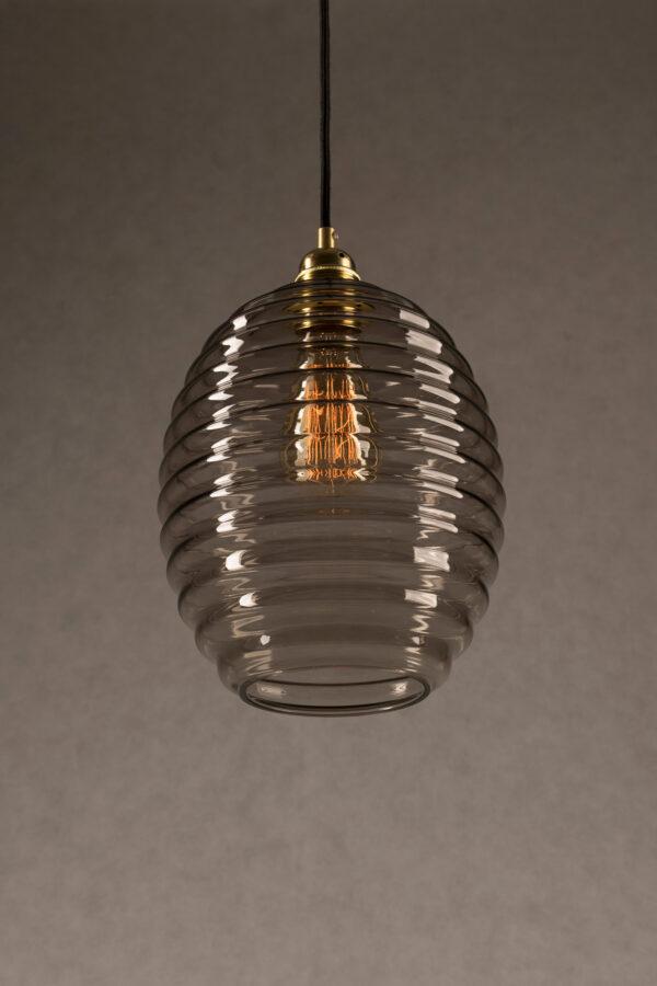 Szklana lampa wisząca Ul dymiony 3