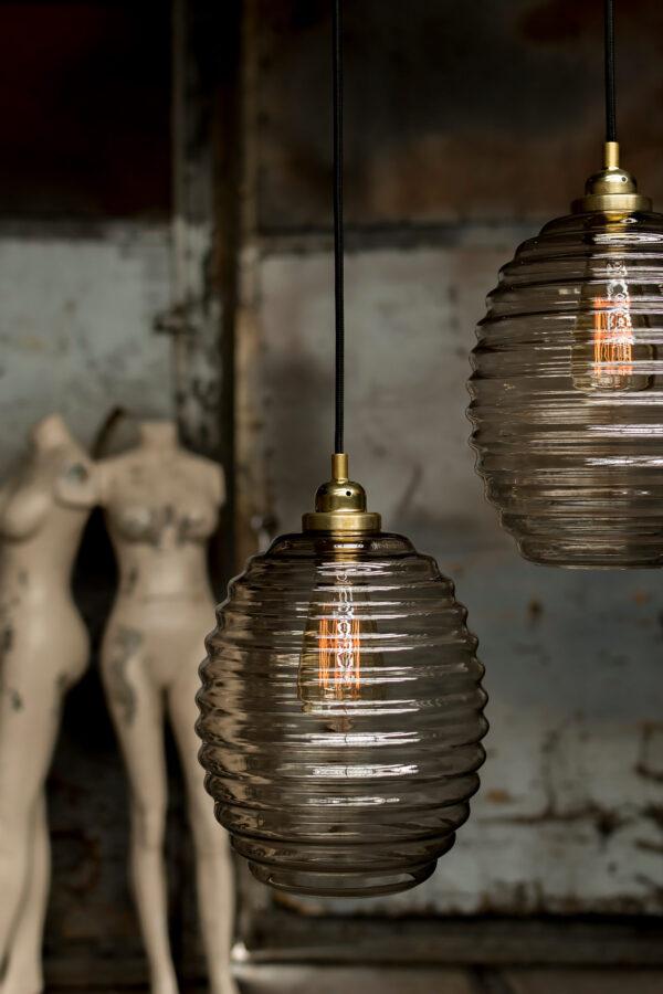 lampy wiszące Ule szkło dymione 2