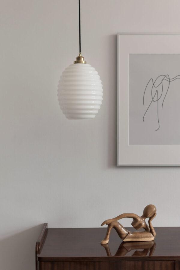 Szklana lampa wisząca Ul biały