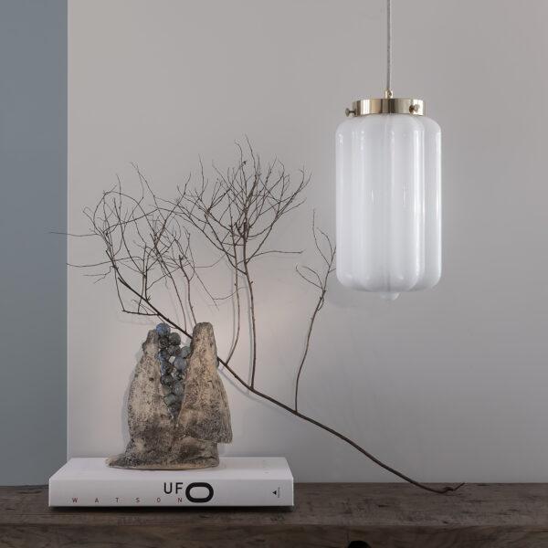 Szklana Lampa Wisząca Deco Białe