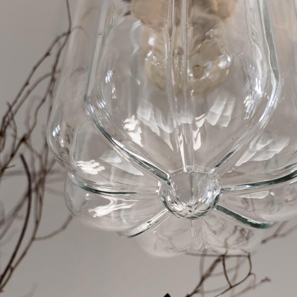 Szklana Lampa Wisząca Deco Jasne