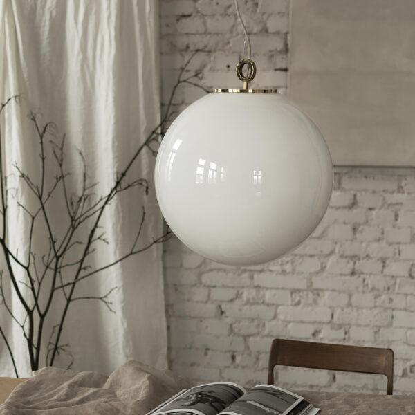 Szklana Lampa Duża Biała Kula
