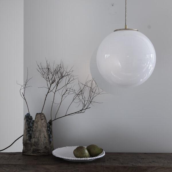 Szklana Lampa Biała Kula