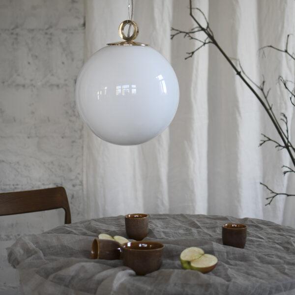 Szklana Lampa Biała Kula Z Pierścieniem