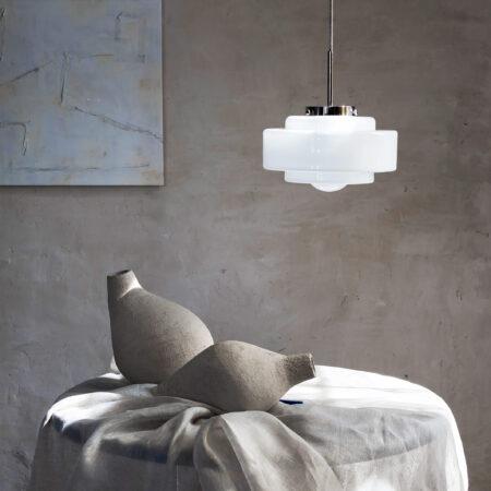 Szklana lampa wisząca art deco Memoire